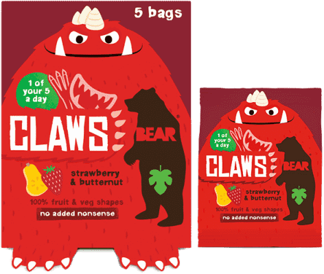 BEAR Želé drápky – Jahoda a dýně (5x18g)