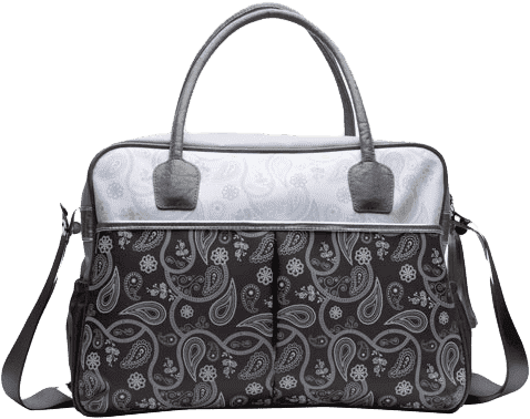 BEBE-JOU Luxusní přebalovací taška stříbrná Paisley print