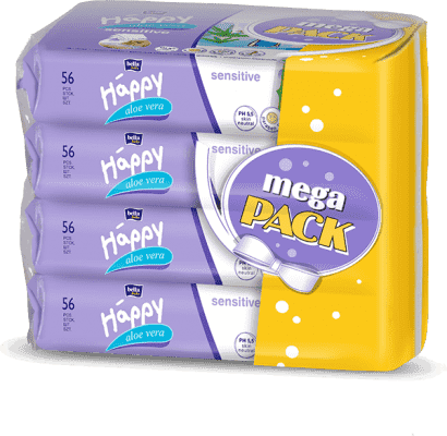 4x BELLA HAPPY BABY Vlhčené obrúsky sensitive s aloe vera 56 ks, MEGA PACK
