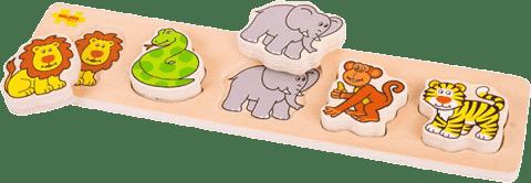 BIGJIGS Drewniane szerokie wkładane puzzle – Safari (grubość 2 cm)
