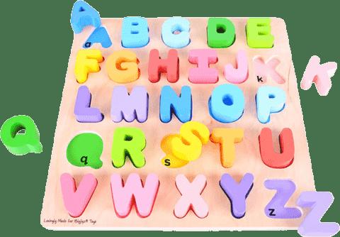 BIGJIGS Dřevěná motorická vzdělávací hračka Abeceda