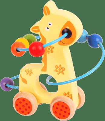 BIGJIGS Motorické hračky - Motorický labyrint na kolečkách (žirafa)