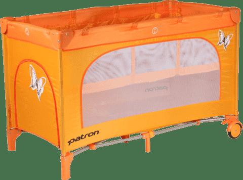 PATRON Składane łóżeczko podróżne Skippy Plus – pomarańczowe/motyl