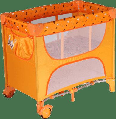PATRON Składane łóżeczko dla noworodków Maia – pomarańczowe/motyl