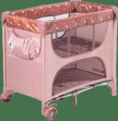 PATRON Skládací postýlka pro novorozence Maia – hnědá/motýl