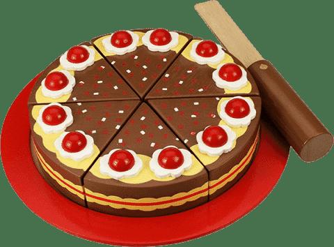 BIGJIGS Drewniany czekoladowy tort do krojenia