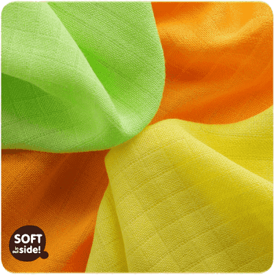 KIKKO Bambusowe chusteczki Colours 30x30 (9 szt.) – lime, lemon, orange