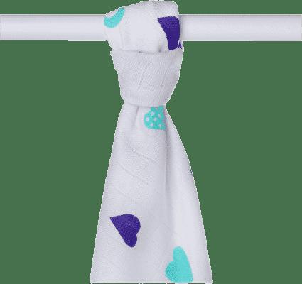 KIKKO Bambusowy ręcznik/pieluszka Hearts&Waves 90x100 (1 szt.) - ocean blue hearts