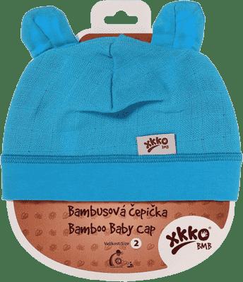 KIKKO Bambusová detská čiapočka Colours, vel. 2 – cyan