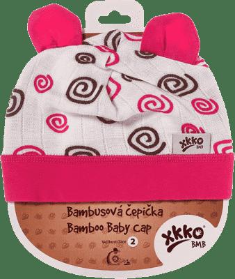 KIKKO Bambusowa dziecięca czapeczka Spirals rozm.2 - magenta