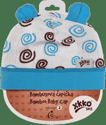 KIKKO Bambusová detská čiapočka Spirals vel. 2 – cyan