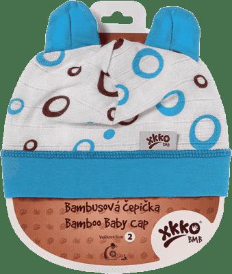 KIKKO Bambusová detská čiapočka Bubbles vel. 2 – cyan