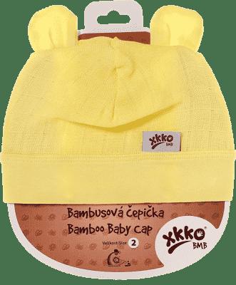 KIKKO Bambusová detská čiapočka Colours, vel. 3 - lemon