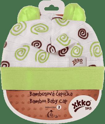 KIKKO Bambusowa dziecięca czapeczka Spirals rozm.3 - lime