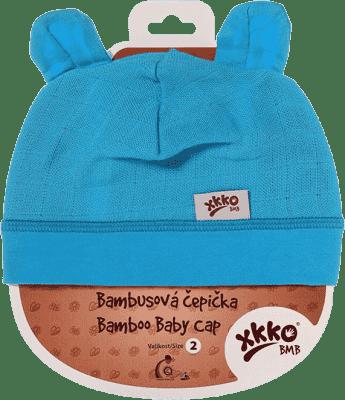 KIKKO Bambusová dětská čepička Colours, vel. 4 - cyan