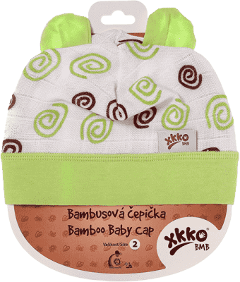 KIKKO Bambusová detská čiapočka Spirals vel. 4 - lime