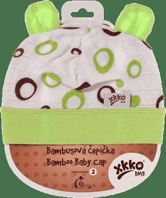 KIKKO Bambusová detská čiapočka Bubbles vel. 4 - lime