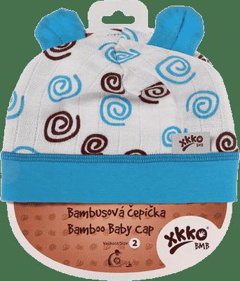 KIKKO Bambusová dětská čepička Spirals vel. 4 – cyan