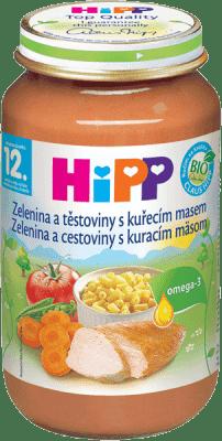 HIPP Zelenina s cestovinami a kuraťom 220 g - mäsovo-zeleninový príkrm