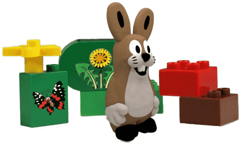 EPLINE Krtek sada extras (6 kostek + 1 figurka zajíc)