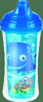 NUBY Termoizolacyjny kubek niekapek z ustnikiem 270 ml, 9 mies.+, niebieski