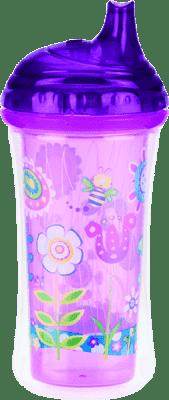 NUBY Termoizolační láhev s pítkem 270ml, 9m+, fialová
