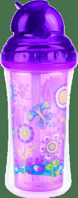 NUBY Termoizolační láhev s brčkem 270 ml, 12 m+, fialová