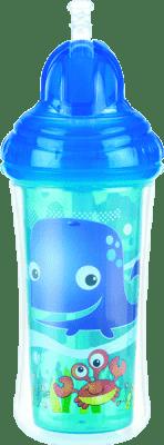 NUBY Termoizolační láhev s brčkem 270 ml, 12 m+, modrá