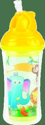 NUBY Termoizolační láhev s brčkem 270ml, 12m+, žlutá