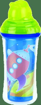 NUBY Termoizolačné fľaša so slamkou 270ml, 12m +, zelená