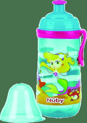 NUBY Butelka sportowa Pop-Up 360ml, 18m+,  kolor turkusowy