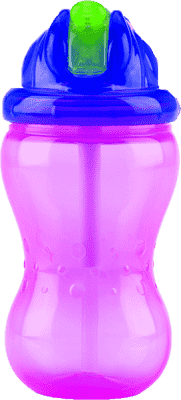 NUBY Kelímek s brčkem 355ml No-Spill Flip-it, 12m+, růžová