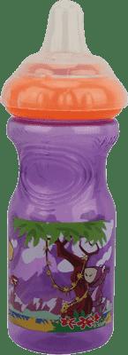 NUBY Nietłukąca się butelka z silikonowym ustnikiem, 300ml, 9m+, fioletowa z pomarańczowym wieczkiem