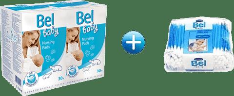 BEL BABY prsní vložky (2x30 ks) + Bel tyčinky 160 ks zdarma