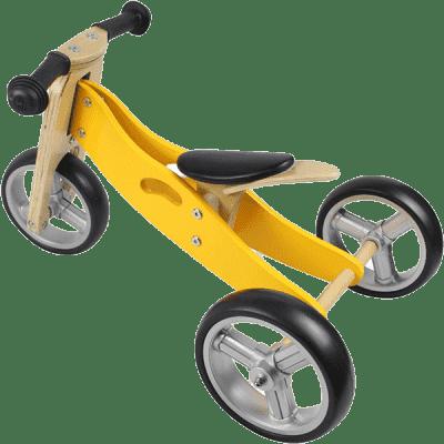 NICKO Drewniany jeździk 2w1 mini rowerek trzykołowy – żółty