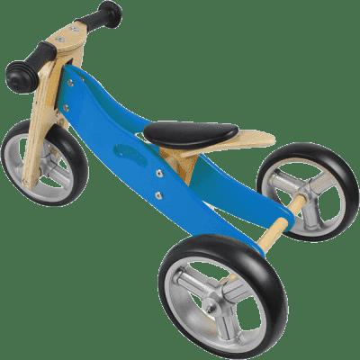 NICKO Drewniany jeździk 2w1 mini rowerek trzykołowy – niebieski
