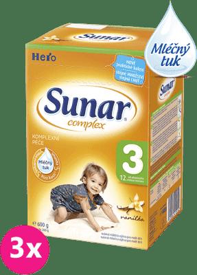 3x SUNAR Complex 3 VANILKA (600g) – kojenecké mléko