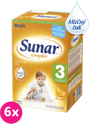 6x SUNAR Complex 3 BANÁN (600g) – kojenecké mléko
