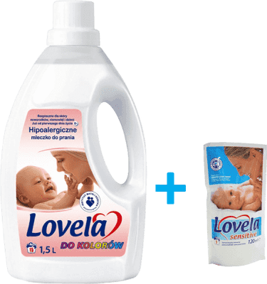 LOVELA Sensitive color 1,5l + dárek: LOVELA gel na praní 120ml zdarma