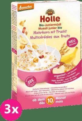 3x HOLLE Organické junior müsli viaczrnné s ovocím, 250g