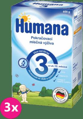 3x HUMANA 3 (600 g) - dojčenské mlieko