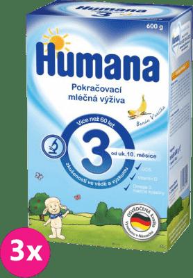 3x HUMANA 3 banán s vanilkovou příchutí (600 g) - kojenecké mléko