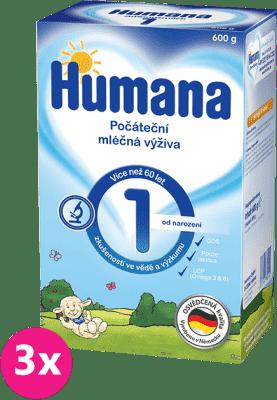3x HUMANA 1 (600 g) - dojčenské mlieko