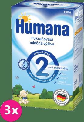 3x HUMANA 2 (600 g) - dojčenské mlieko