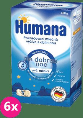 6x HUMANA na dobrou noc s prebiotiky (600 g) - kojenecké mléko