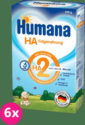 6x HUMANA HA 2 (500 g) – dojčenské mlieko