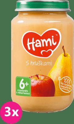 3x HAMI S hruškami 6+ (200g) - ovocný príkrm