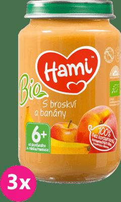 3x HAMI BIO S broskyňou a banánmi (200 g) - ovocný príkrm