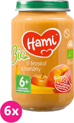 6x HAMI BIO S broskyňou a banánmi (200 g) - ovocný príkrm