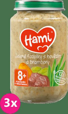 3x HAMI Zelené fazuľky a hovädzie mäso so zemiakmi (200 g) - mäsovo-zeleninový príkrm